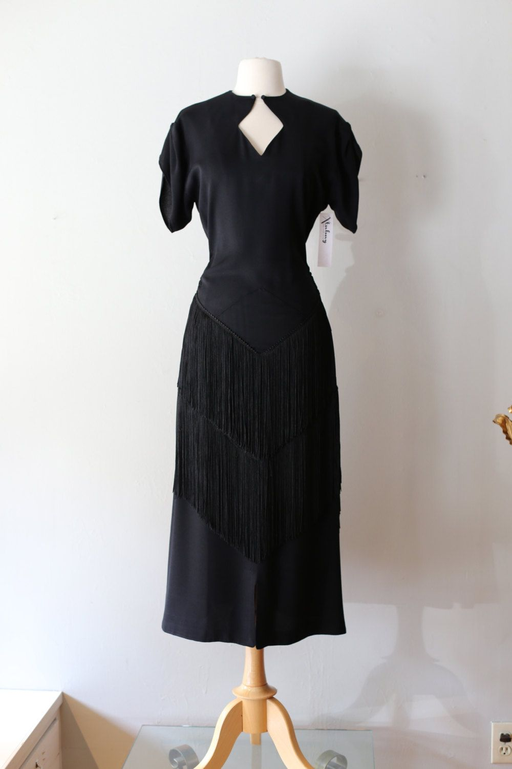 25d087789a Vintage 1940s Rayon Cocktail Dress With Fringe ~ Vintage 40s Femme Fatale  Dress Waist 32 Size Large by xtabayvintage on Etsy