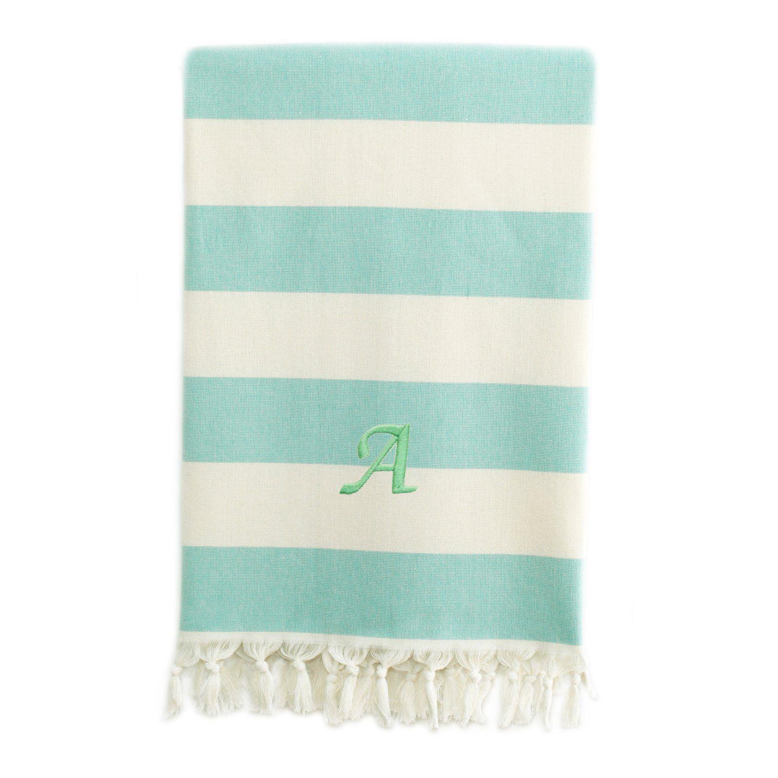 Linum Home Textiles Monogrammed Patara Pestemal Towel Aqua Linum