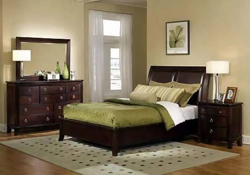 Gray And Green Bedroom | Beige, Olive Green And Dark Wood. Clean Lines And  Great Color Combo.