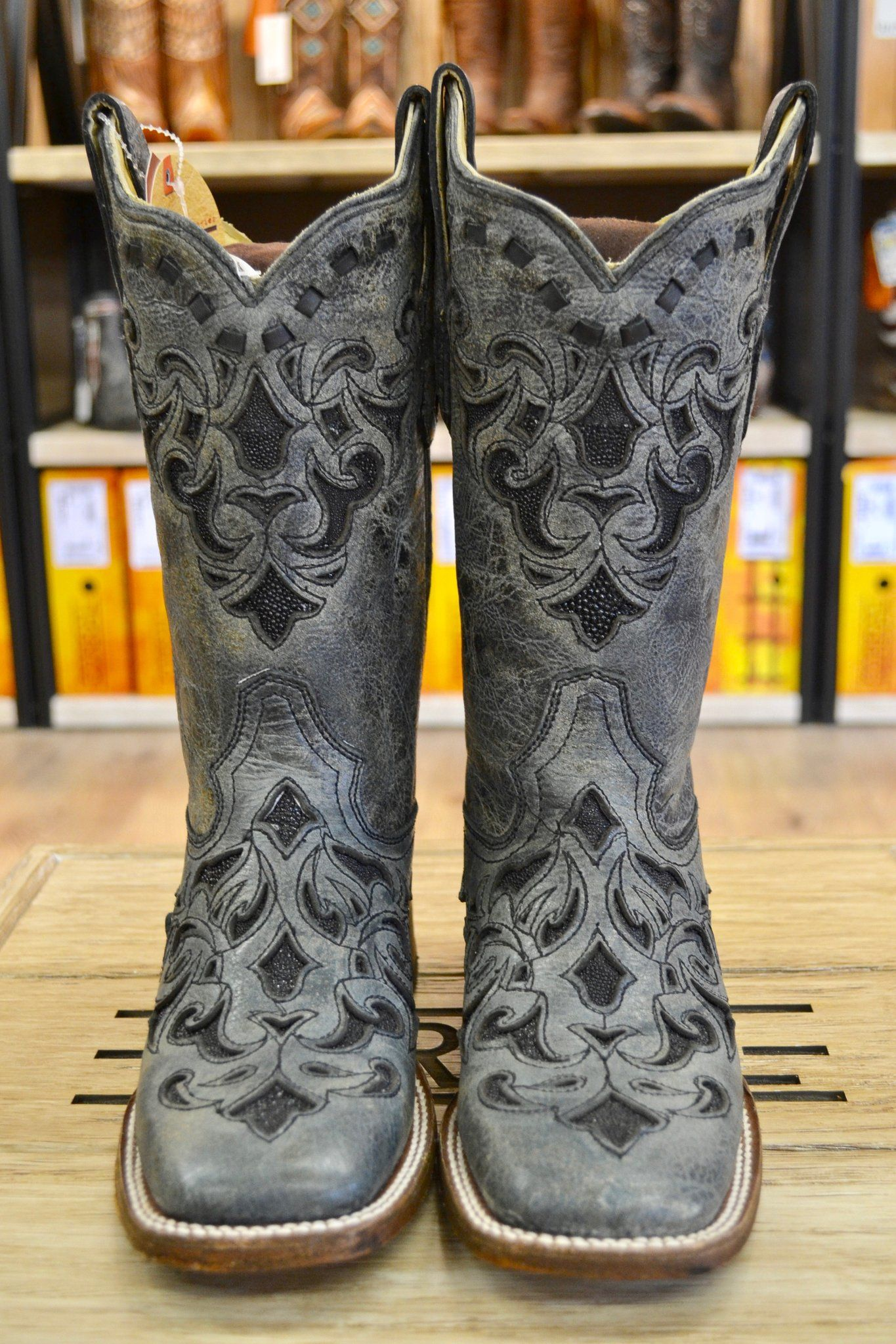 fb2217b4466 Corral Women's Gray & Black Stingray Inlay Square Toe Cowgirl Boots ...
