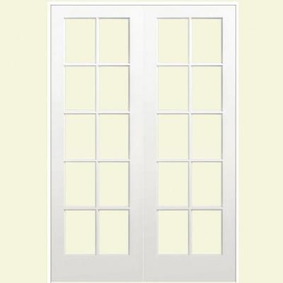 Smooth 10 Lite Solid Core Primed Pine Double Prehung Interior French Door 468265 At Installing French Doors Prehung Interior French Doors French Doors Interior