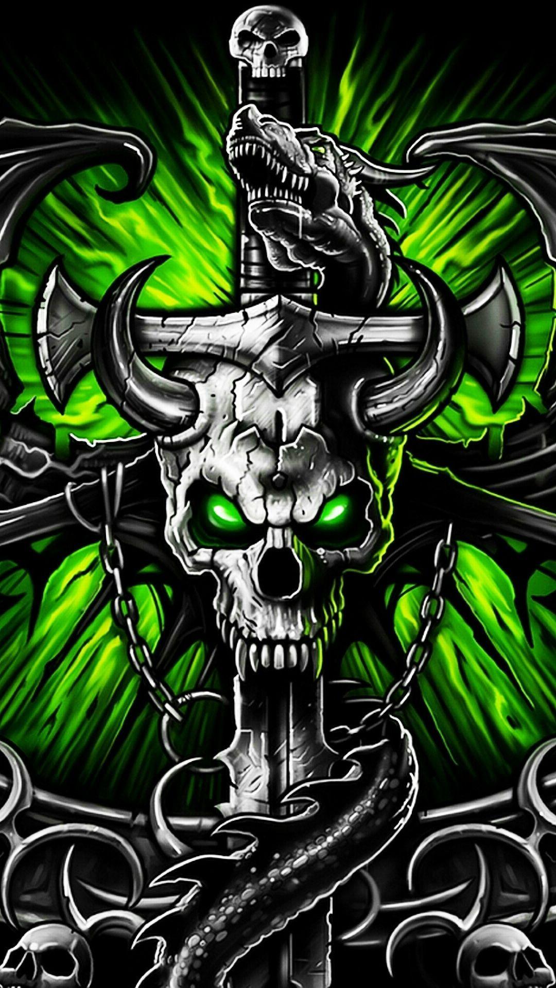 Gothic Metal Graffiti Skull Theme has the green metal