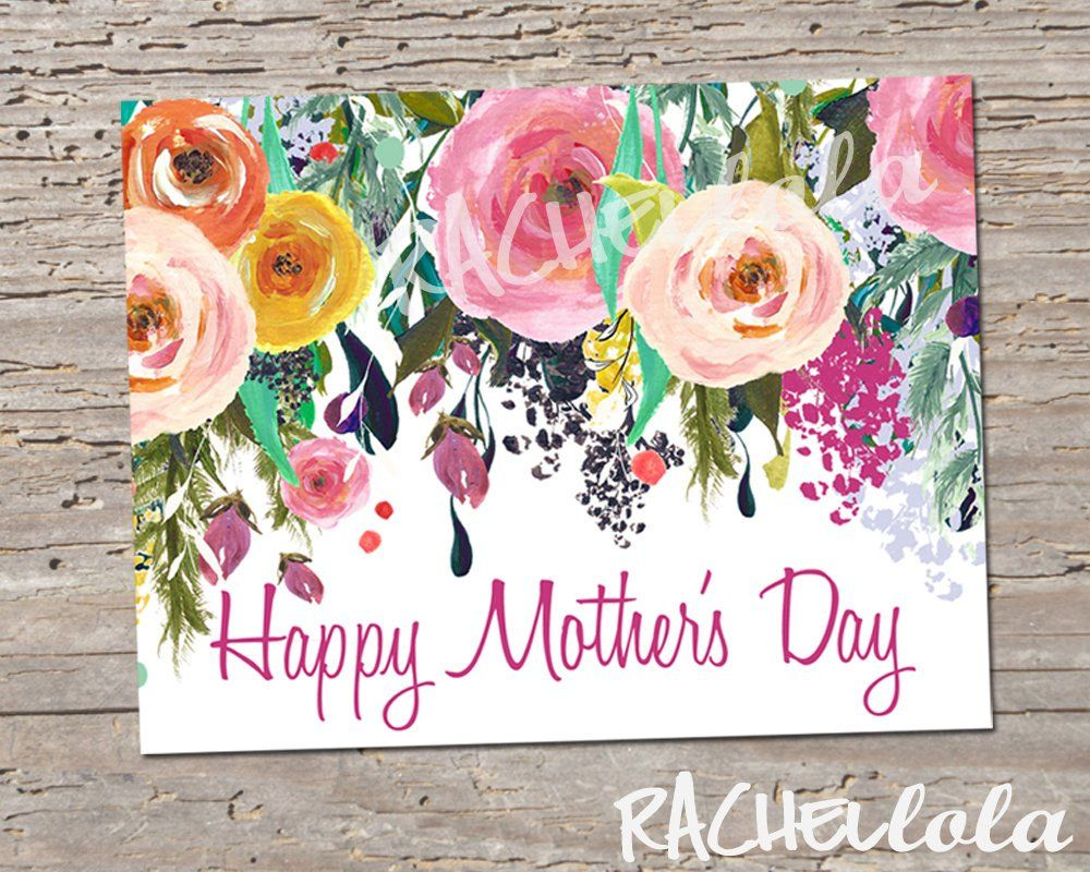 Floral Watercolor Printable Mothers Day Card Template Blank Mom
