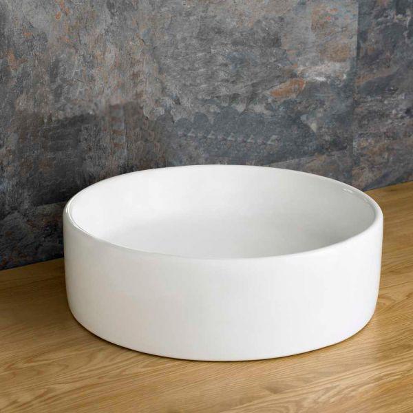 Bathroom Round Countertop Washbasin White Ceramic Sink 350mm
