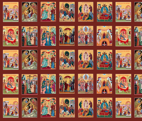 """""""The Twelve Great Feasts"""" fabric on Spoonflower"""