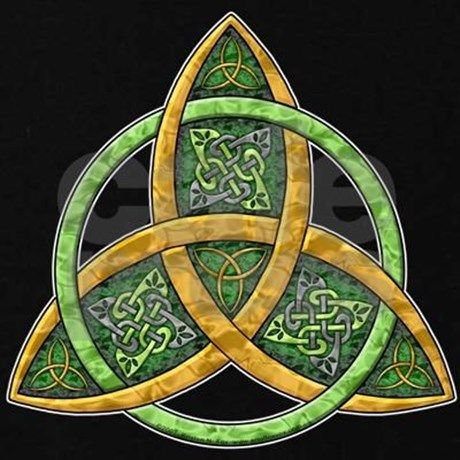 A Classic Celtic Trinity Knot In Gold And Green With Celtic Knotwork