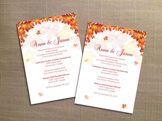 Diy Printable Wedding Invitation Card Template Editable Ms Word File 5 X 7 Instant Download Red Orange Old Fall Leaves Wedding Invitation Card Template Diy Printable Wedding Invitations Wedding Invitation Cards