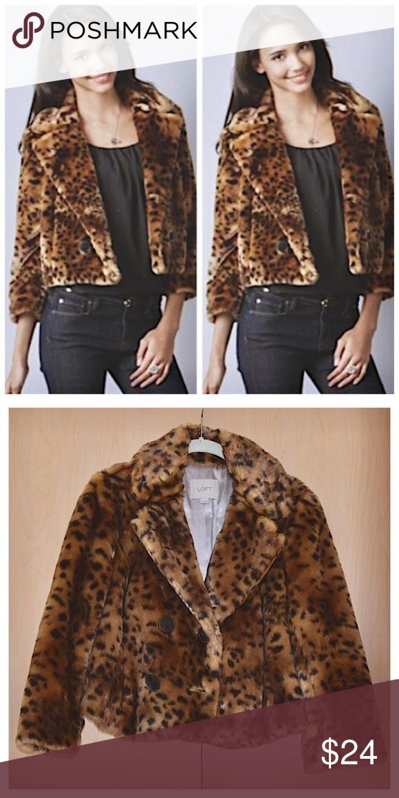 6e0f3fc1084c LOFT Faux Fur leopard print coat LOFT Faux Fur leopard print coat Ann  Taylor Loft Stunning, warm, and timeless jacket in faux fur leopard print.