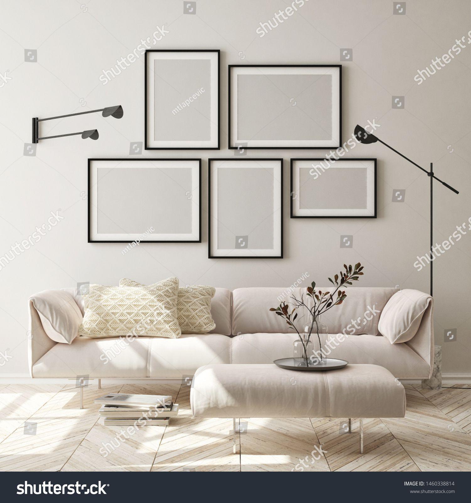 mock up poster frame in modern interior background living room Scandinavian style 3D render 3D illustration