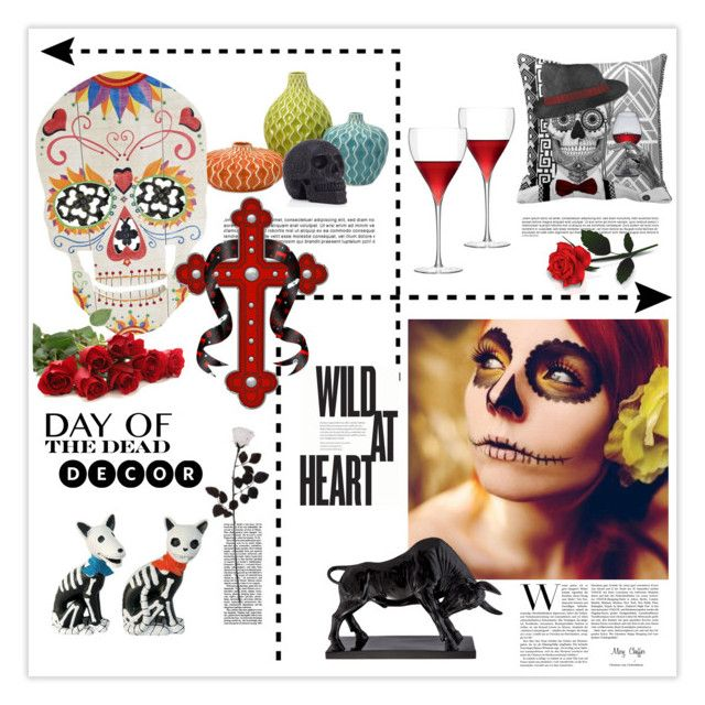Day of the Dead Style by mcheffer on Polyvore featuring interior, interiors, interior design, home, home decor, interior decorating, LSA International, Imax Home, Universal Lighting and Decor and Dayofthedead