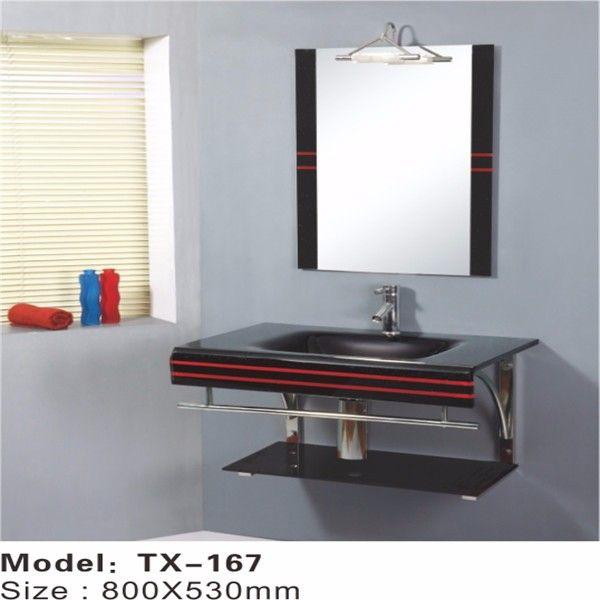 Simple floor standing glass bathroom basin,bathroom double wash ...