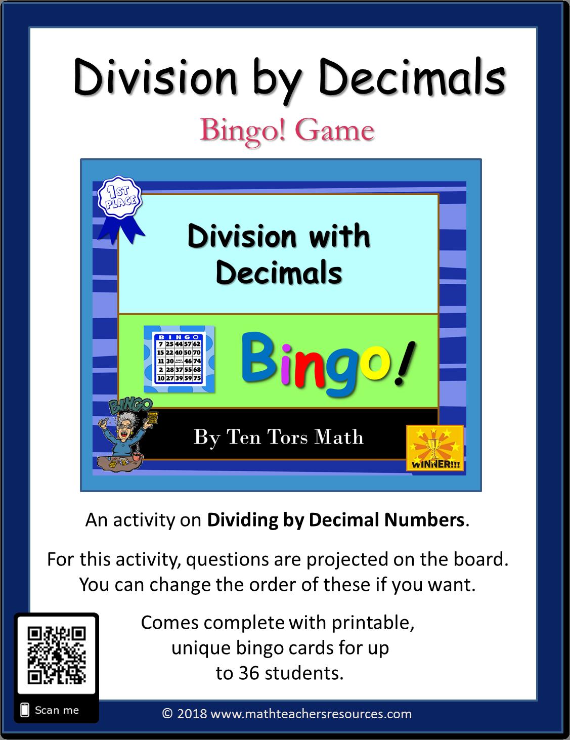 Division With Decimals Bingo Game Activity
