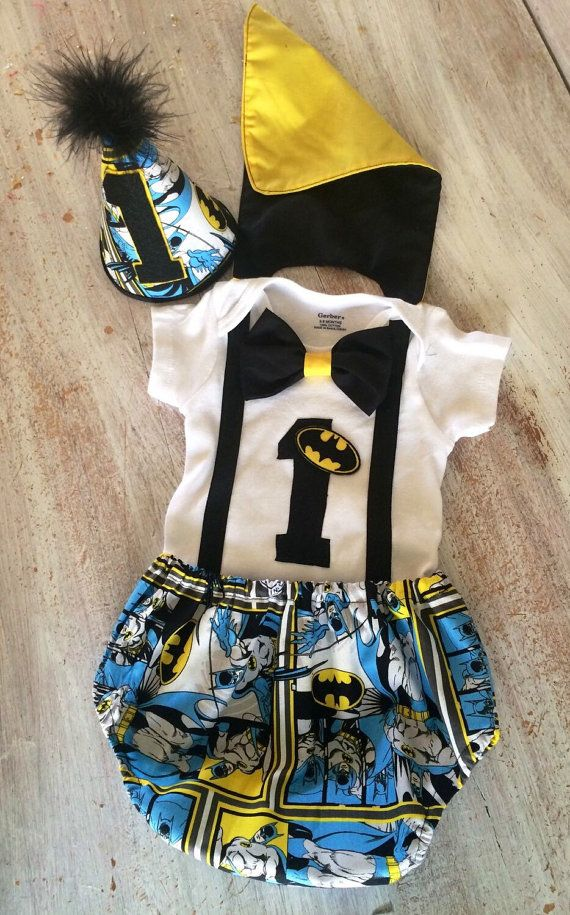 02e7d6386 Batman Superhero Comic Cake Smash Outfit with Cape by CuteAsClaire Baby Boy 1st  Birthday Party,