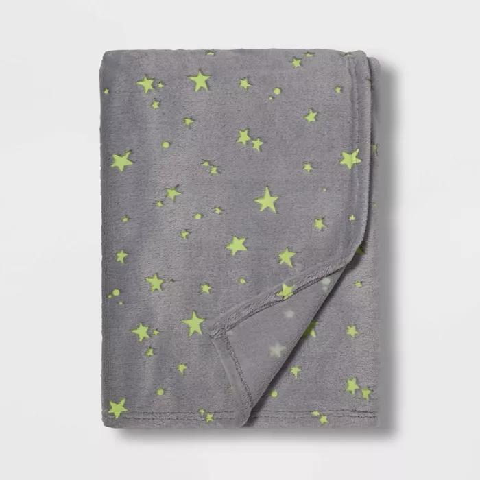 Glow in the Dark Stars Throw Gray - Pillowfort
