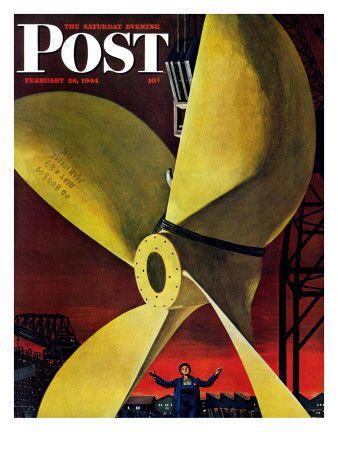 """""""Ships Propeller,"""" Saturday Evening Post Cover, February 26, 1944 Giclee-vedos tekijänä Fred Ludekens AllPosters.fi-sivustossa"""