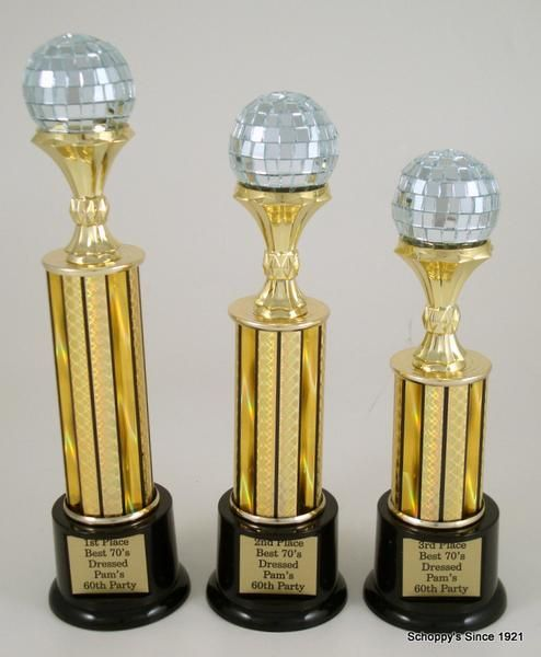 Black Round Base With Gold Riser Holding A 2 Inch Real Mirror Disco Ball Choose Your Column Height To Customize The Size Of This Trophy