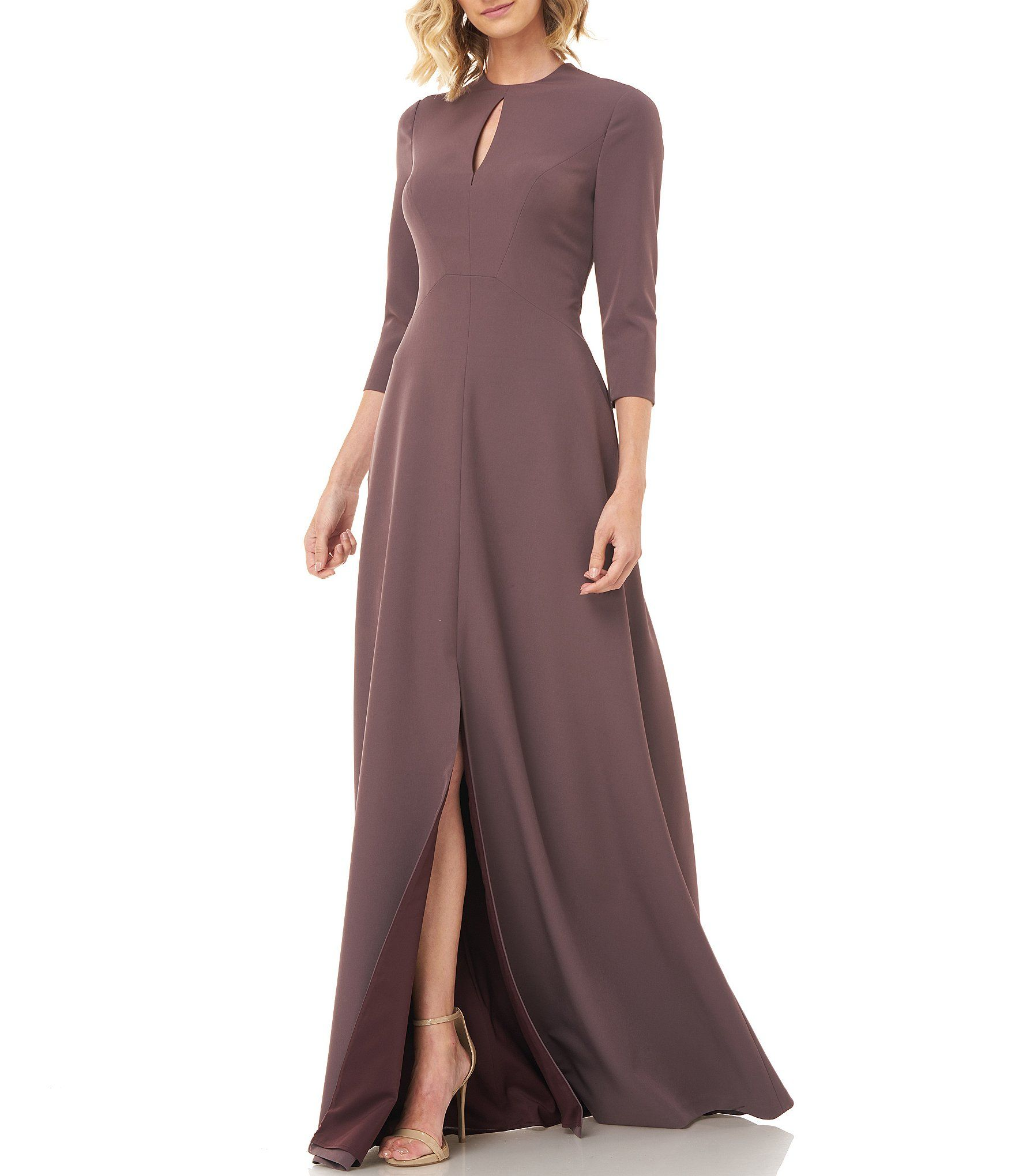 Kay Unger Hannah Keyhole Detail 3/4 Sleeve ALine Gown