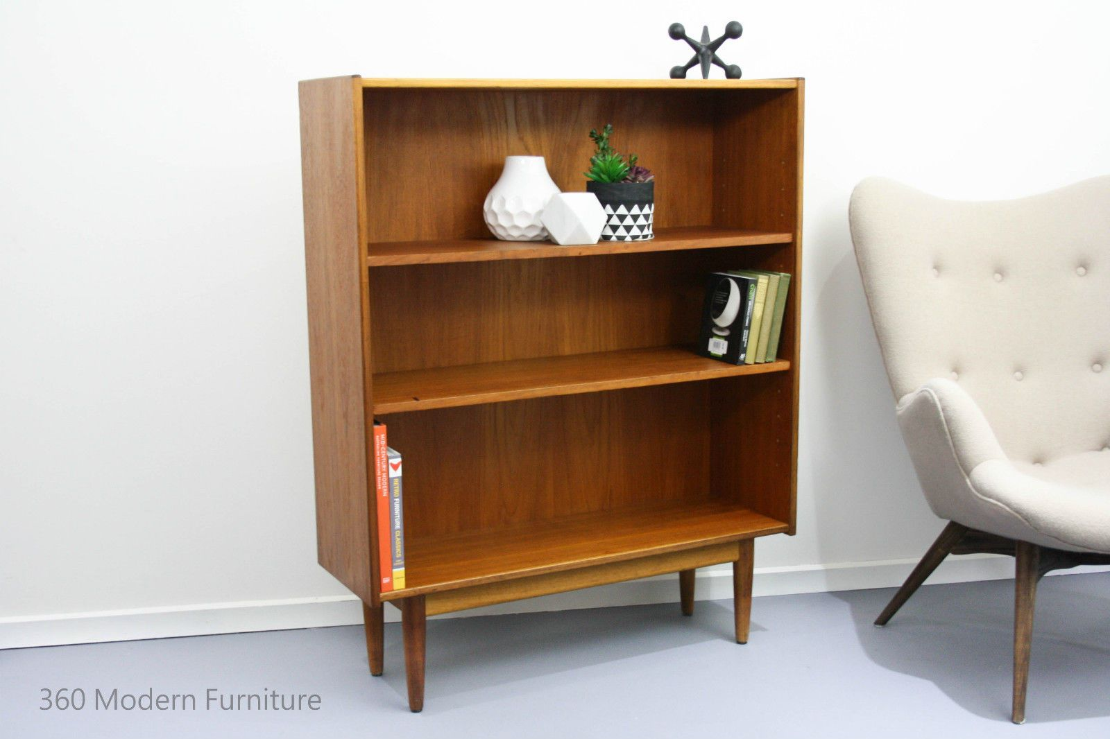 Mid Century Parker Bookcase Shelves Teak Sideboard Display Vintage Retro Slim In Home Garden