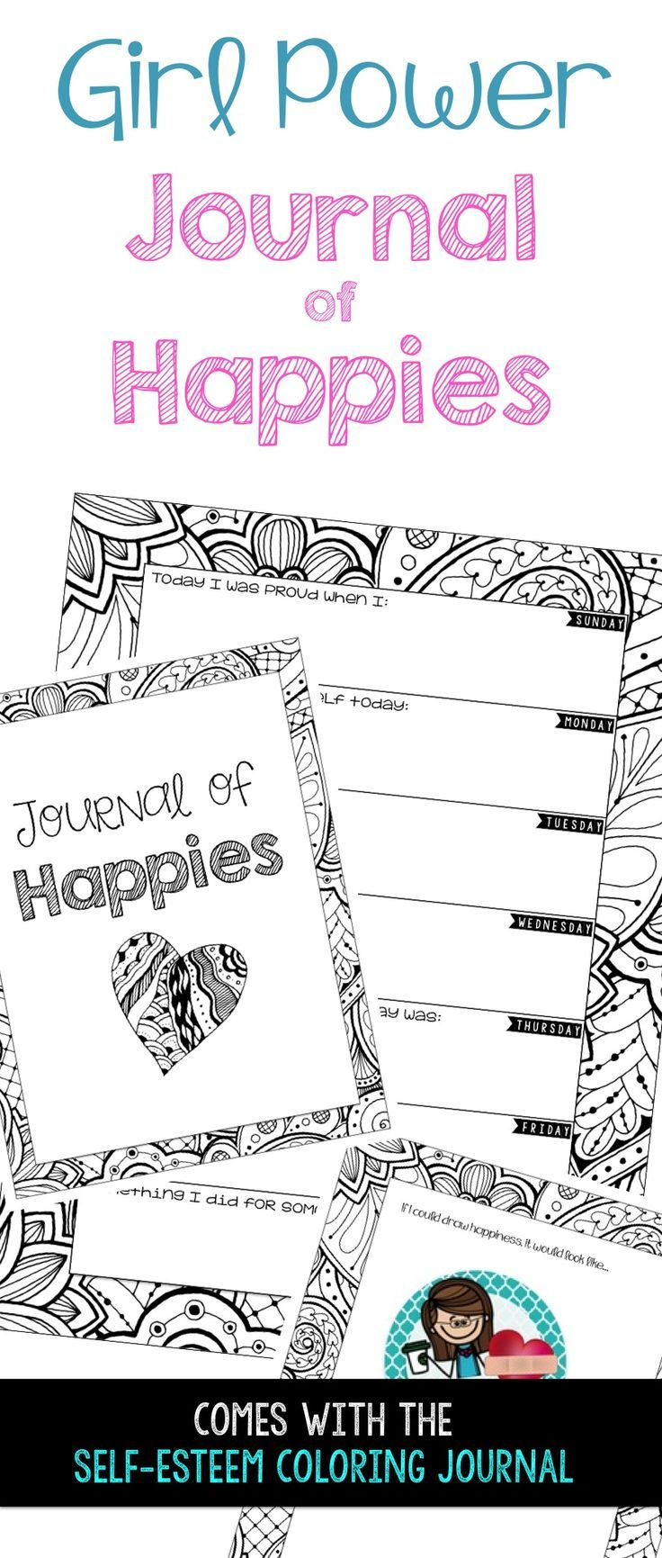 The coloring book of positivity - Self Esteem Coloring Journal Daily Calendarpositive Affirmationspositive Thoughtsschool Counselorthe Journalpromptscounselingcoloring Books Powerpoints