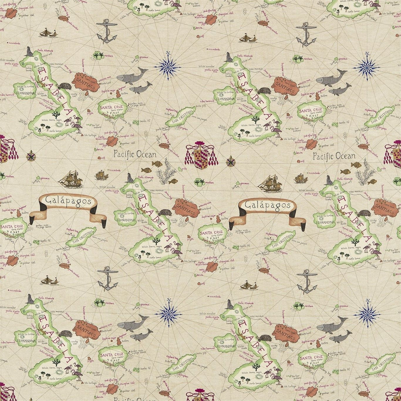 Galapagos depicts a vintage map of darwins famous archipelago galapagos depicts a vintage map of darwins famous archipelago gorgeous wallpaper from sanderson gumiabroncs Gallery