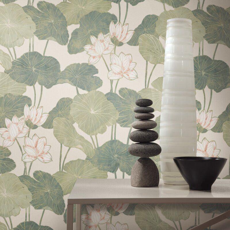 Circinus Lily Pad 16 5 L X 20 5 W Peel And Stick Wallpaper Roll Peel And Stick Wallpaper Peelable Wallpaper Wallpaper Roll