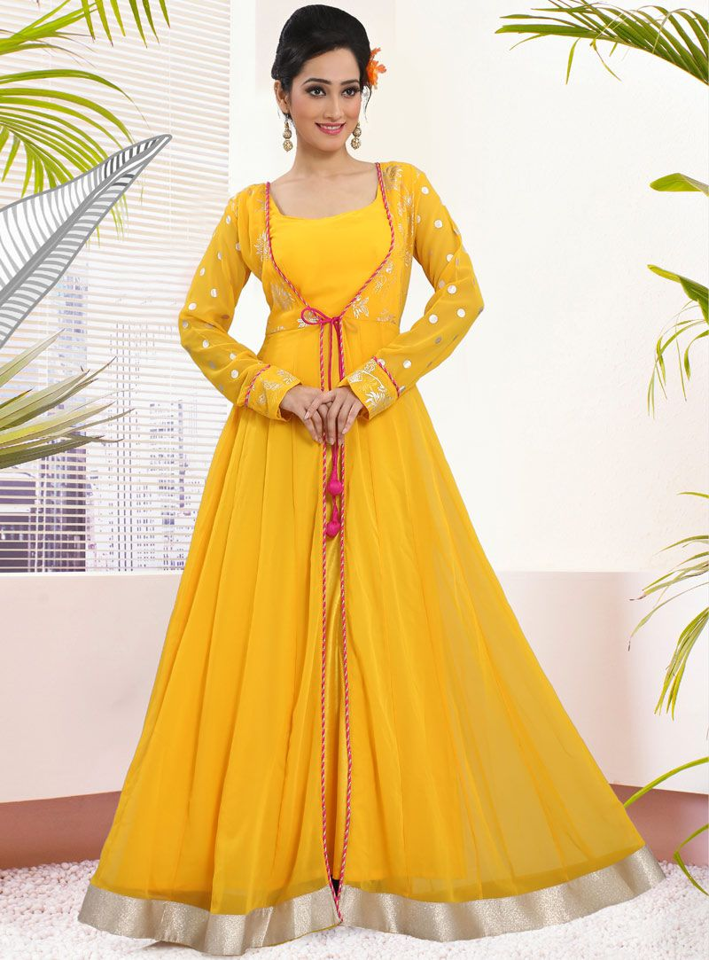 02e5f9dde Yellow Georgette Readymade Floor Length Gown 79685