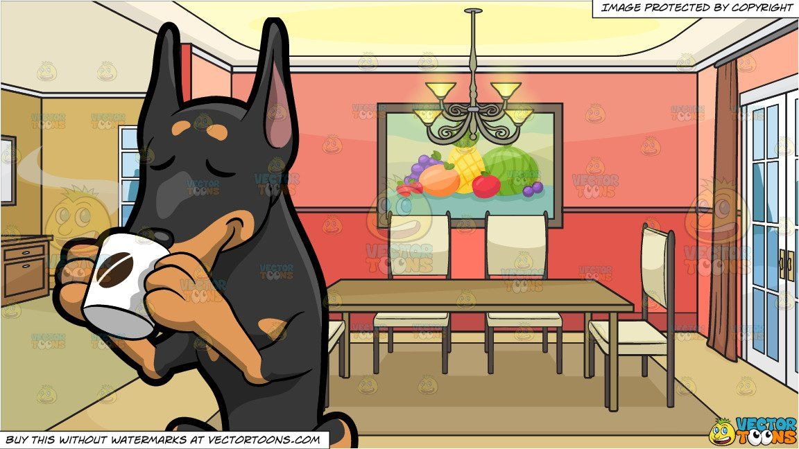 A Doberman Dog Sipping A Hot Cup Of Coffee and An Empty