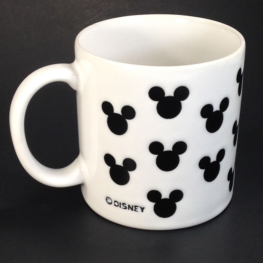 Disney Mickey Mouse Ears Silhouette White Coffee Mug Cup Black Embossed Pattern | eBay