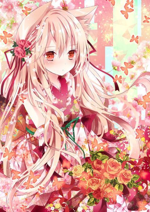 # Kawaii Anime Girl # Kimono #pink Hair