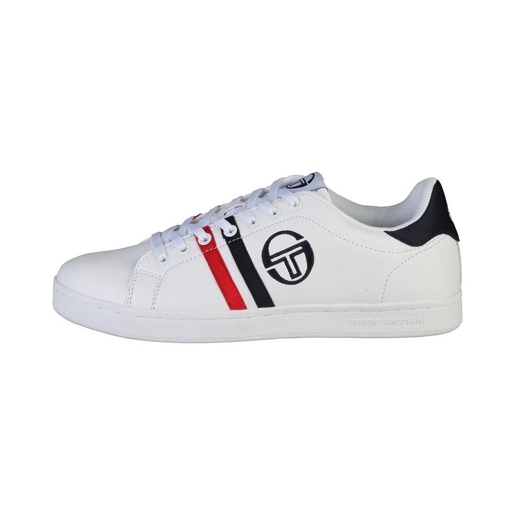 90c4294abd4 BASKETS HOMME SERGIO TACCHINI GHIBLI WHITE NAVY RED Baskets Homme Sergio  TACCHINI Chaussures à lacets Coloris   Blanc à bandes bleu marine et rouge  ...