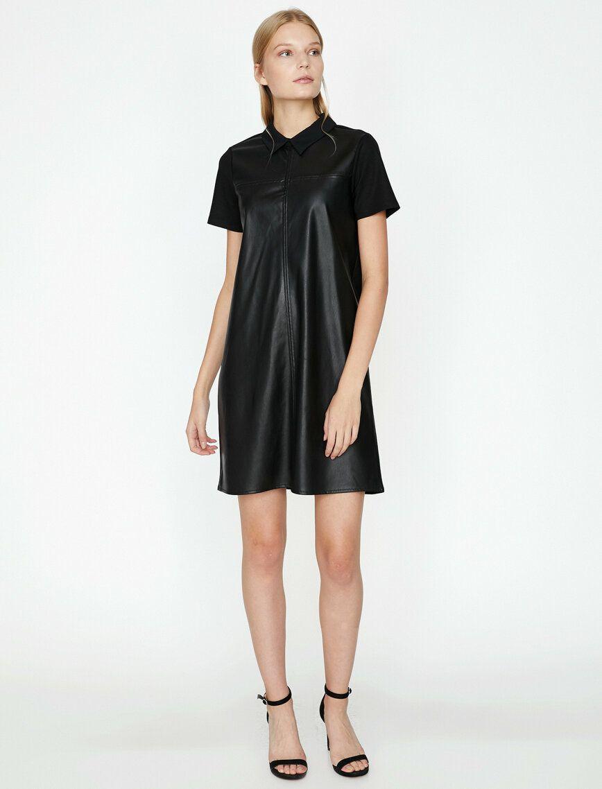 Deri Gorunumlu Elbise Elbise Midi Elbise Elbise Tarzlari