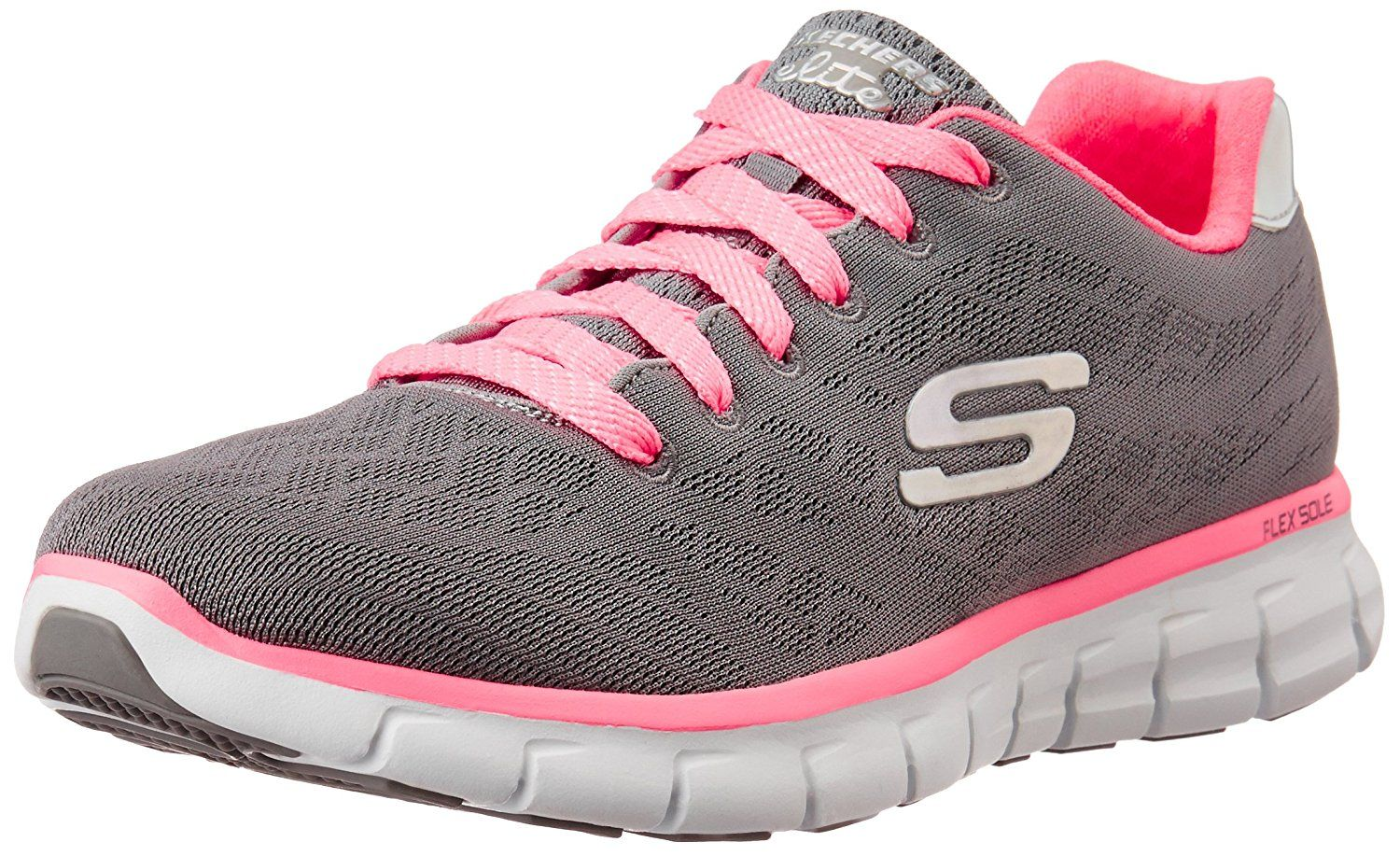 new arrival bc168 132ae Skechers Women s Synergy Charcoal and Pink Mesh Multisport Training Shoes -  3 UK India (