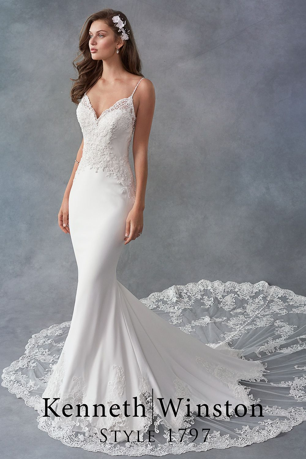 Gorgeous Lace Train On A Luxe Satin Mermaid Wedding Dress Satin Mermaid Wedding Dress Kenneth Winston Wedding Dresses Wedding Dresses [ 1500 x 1000 Pixel ]
