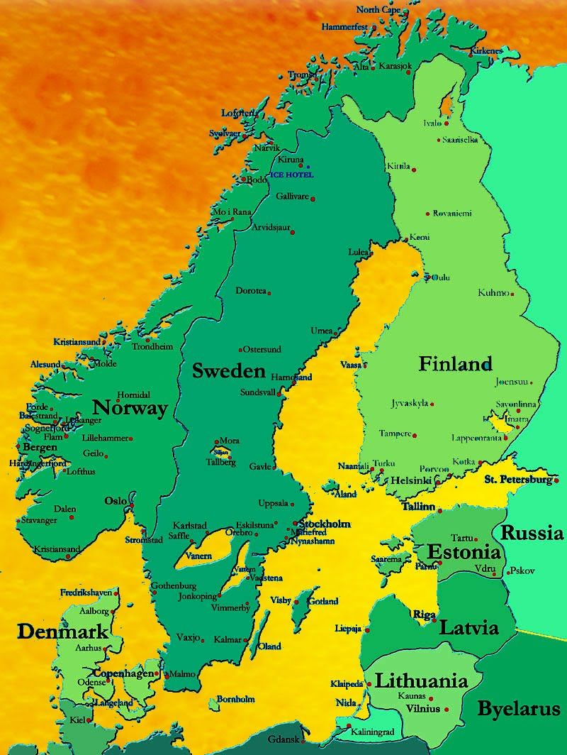 map of Norway, Sweden and Finland