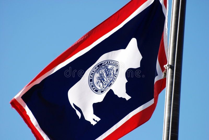 Wyoming State Flag Blowing In Breeze Wyoming State Flag Hanging On Flagpole And Ad Flag Blowing Wyoming State Best Pi In 2020 Wyoming State Wyoming Flag