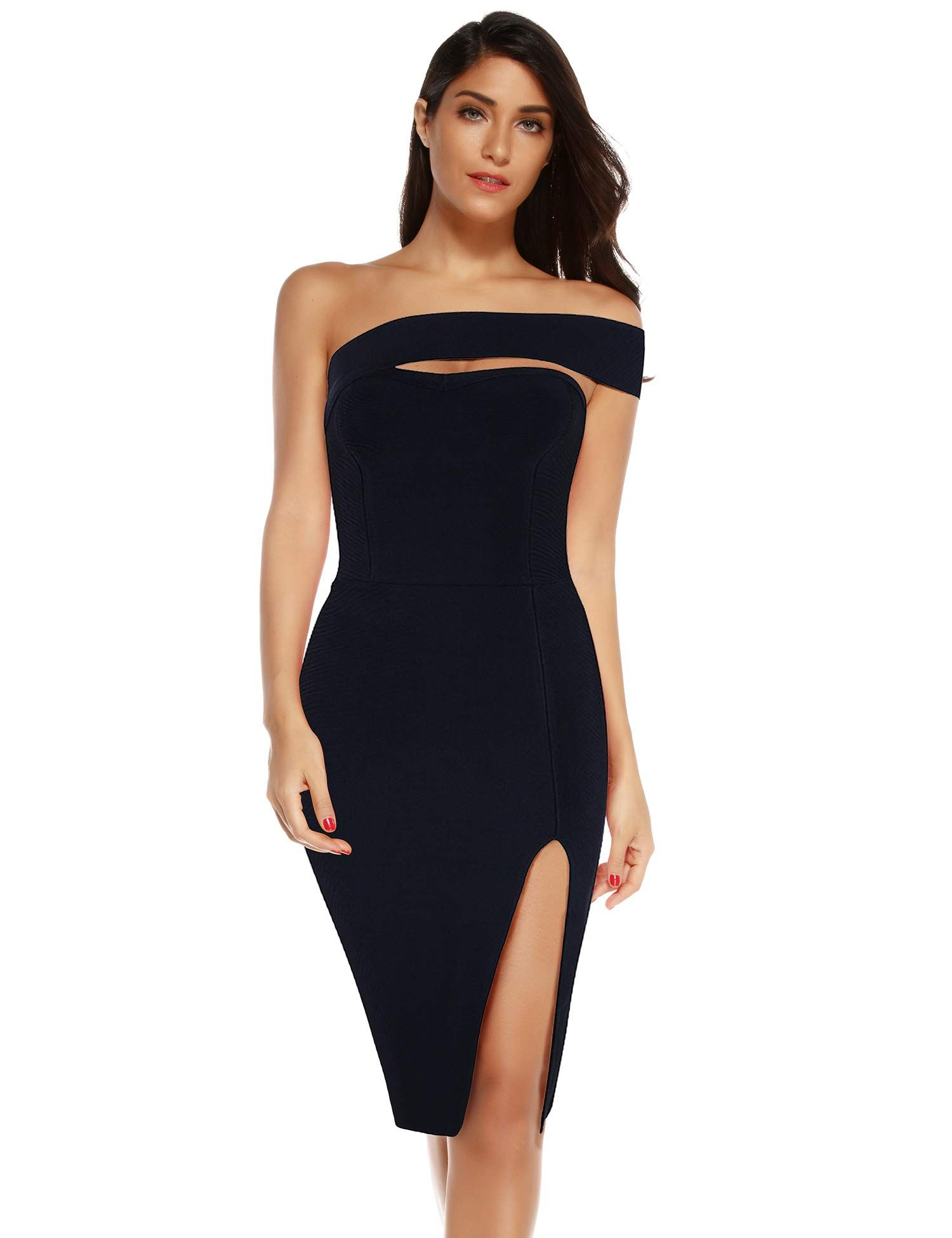 9fa015015d7bb Meilun Womens Bodycon Bandage Dress Vestidos One Shoulder Midi ...