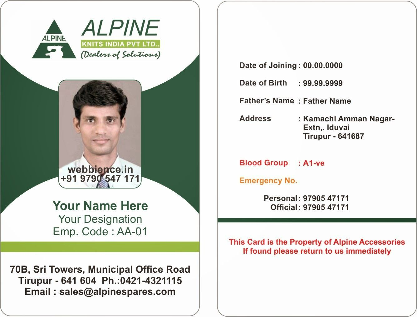 Sample Id Card Format Dalep Midnightpig Co Within Employee Card Template Word Professional Template Ideas Employee Id Card Employees Card Id Card Template