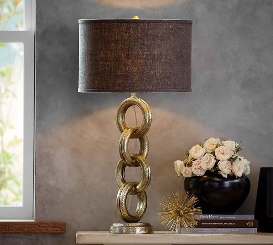 Interlaced Gold Chain Table Lamp Base  Pottery Barn  Lights Awesome Cheap Table Lamps For Living Room Design Decoration