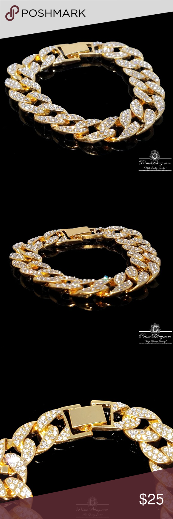 K gold plated iced out miami cuban bracelet nwt my posh picks
