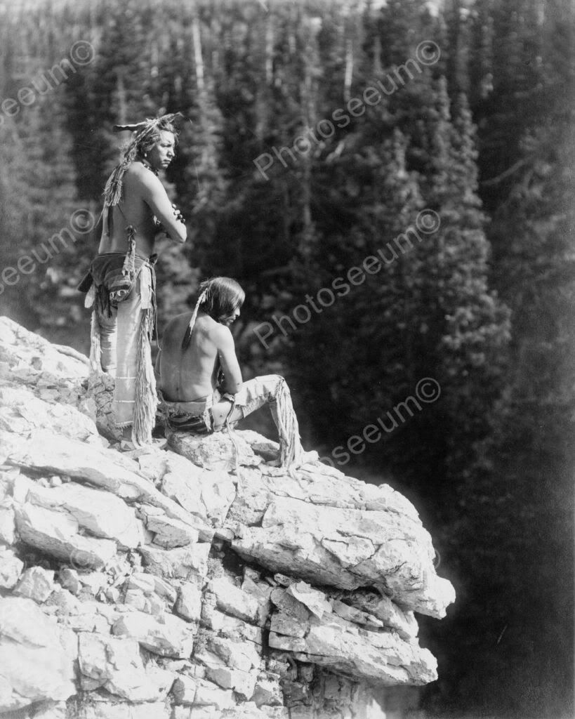 Native Indians Sit At Canyon Look Out 8X10 Reprint Of Old -1511