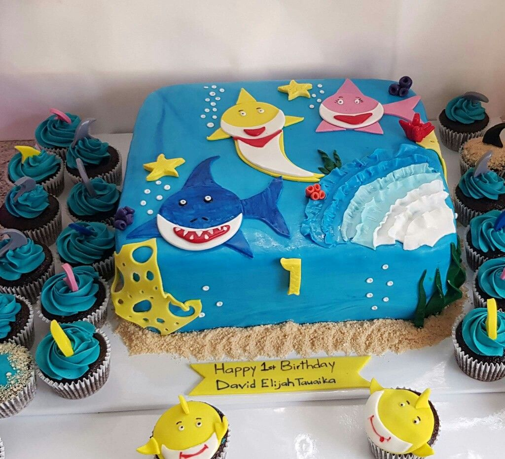 Baby Shark Cake And Cupcakes With Images Shark Birthday Cakes
