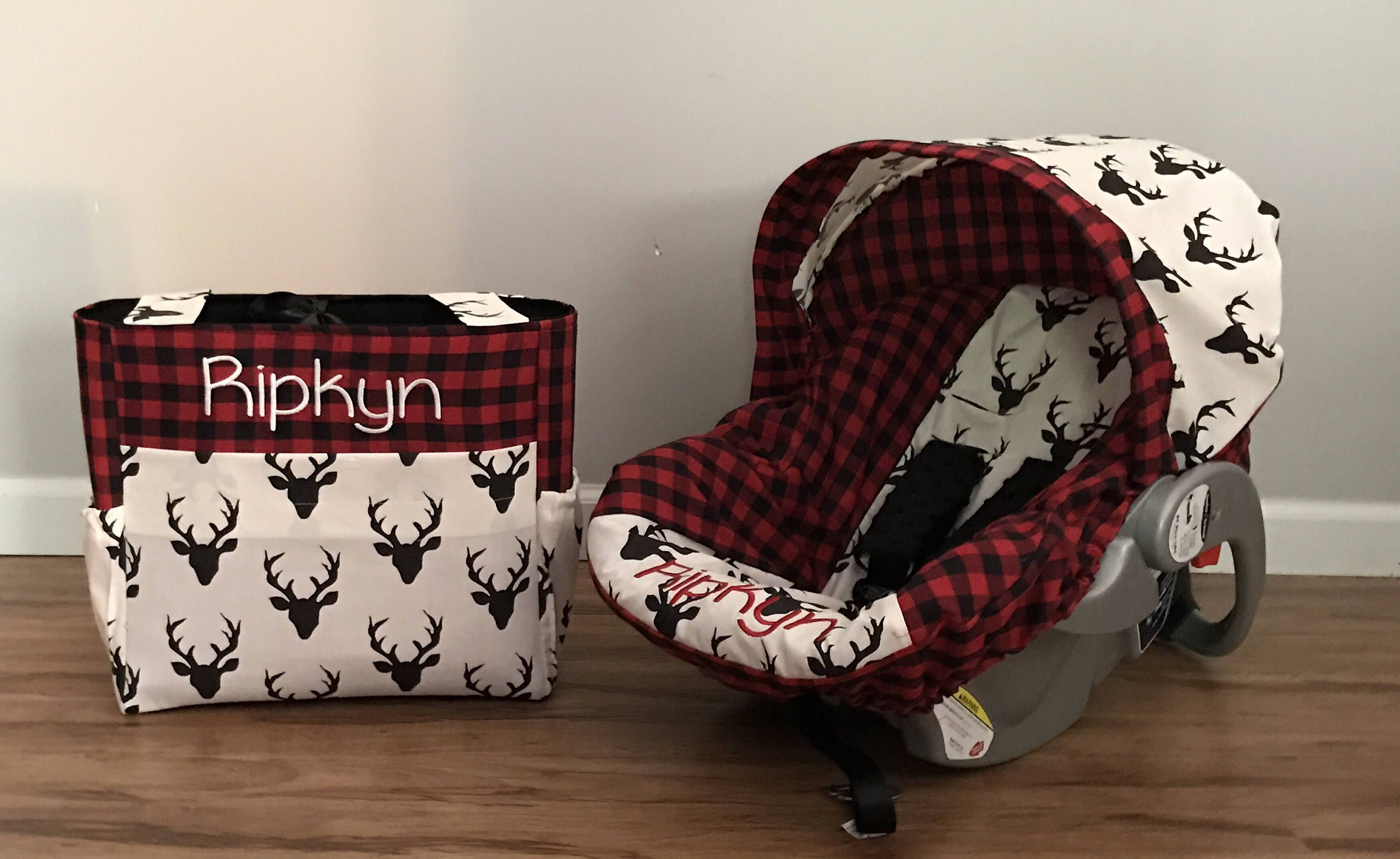 Diaper Bag Amp Car Seat Carrier Cover Made With Red Plaid