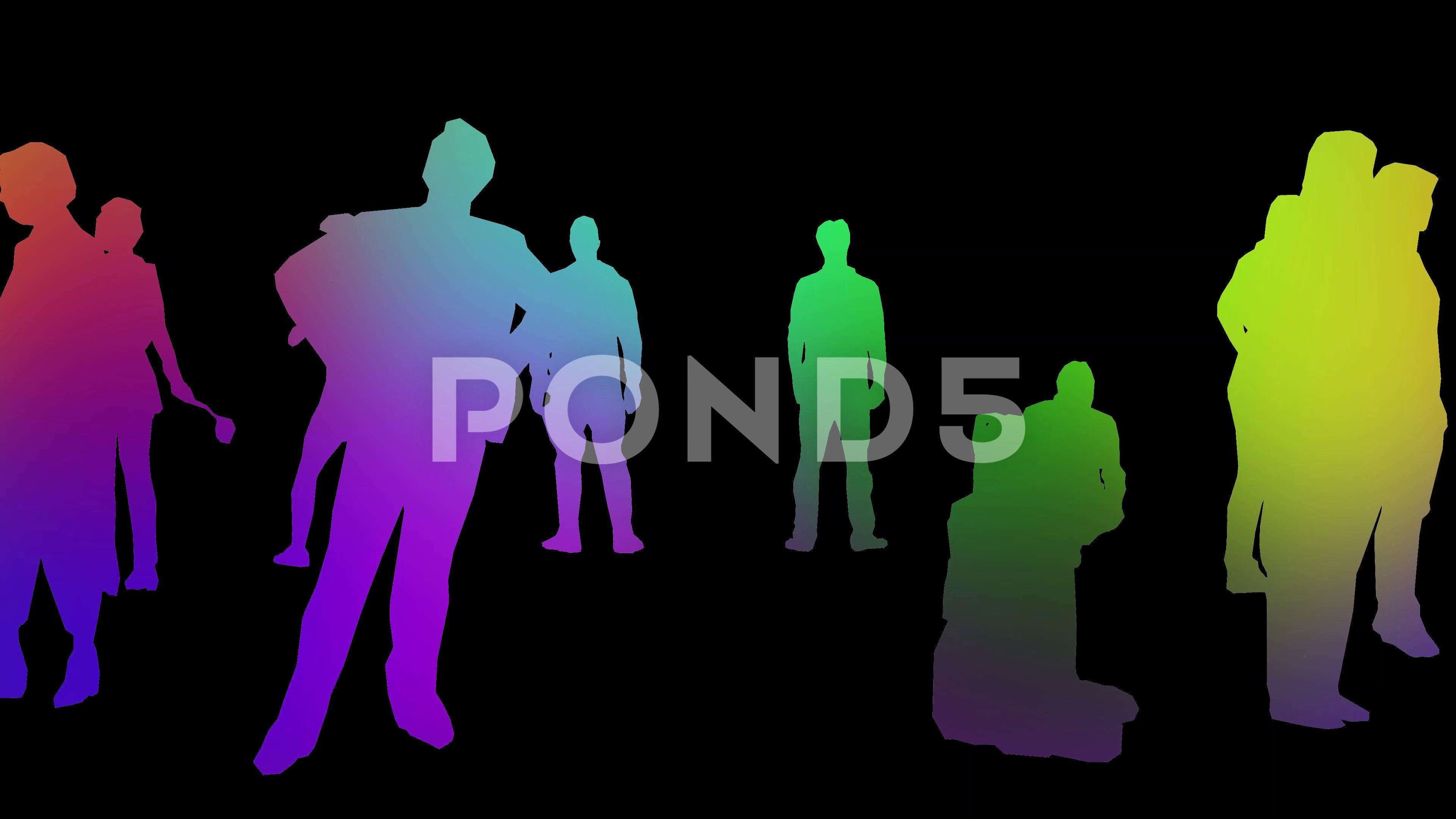People in isolated colorful loop animation Stock Footage colorfulisolatedPeopleloop