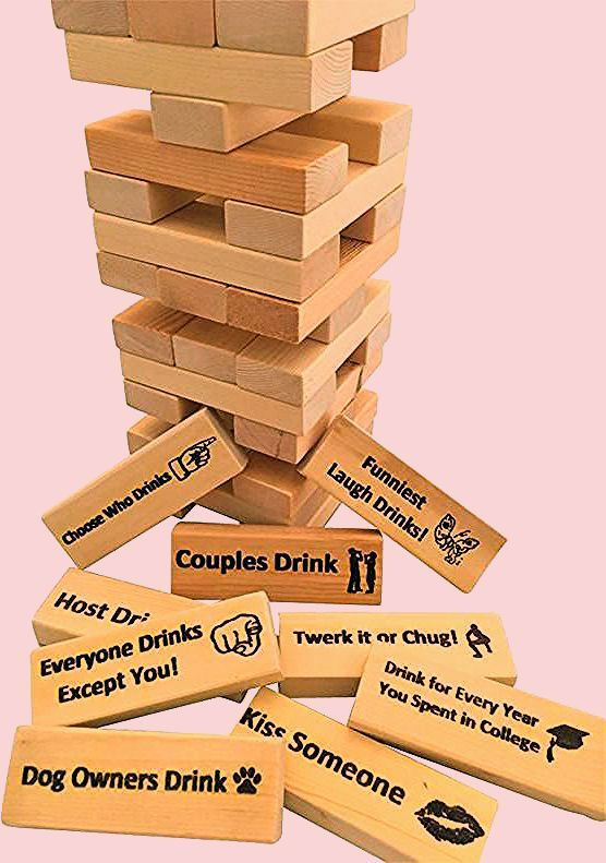 Photo of Adult Drinking Game Party – Custom / Personalized Wood Block Tower – Family Party Drinking Game!