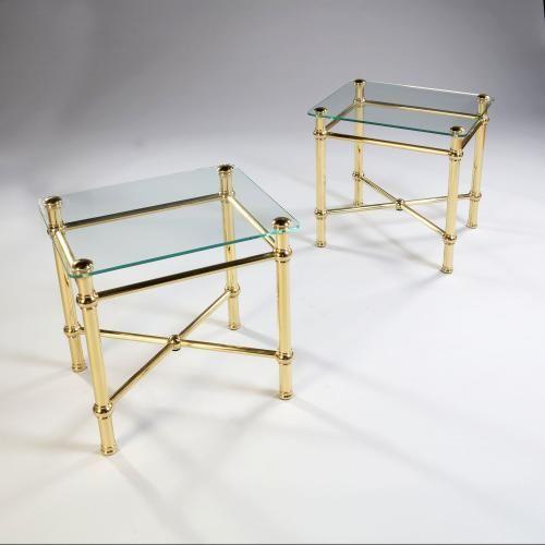 A Pair of Glass and Brass Etageres          Tarquin Bilgen