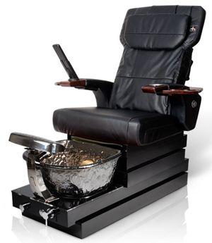 Black Pedicure Chair Ht245ps Nickel Bowl Gloss Wood