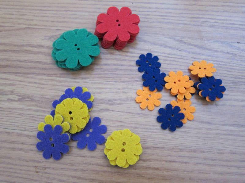 Felt Flower Buttons - Sold!