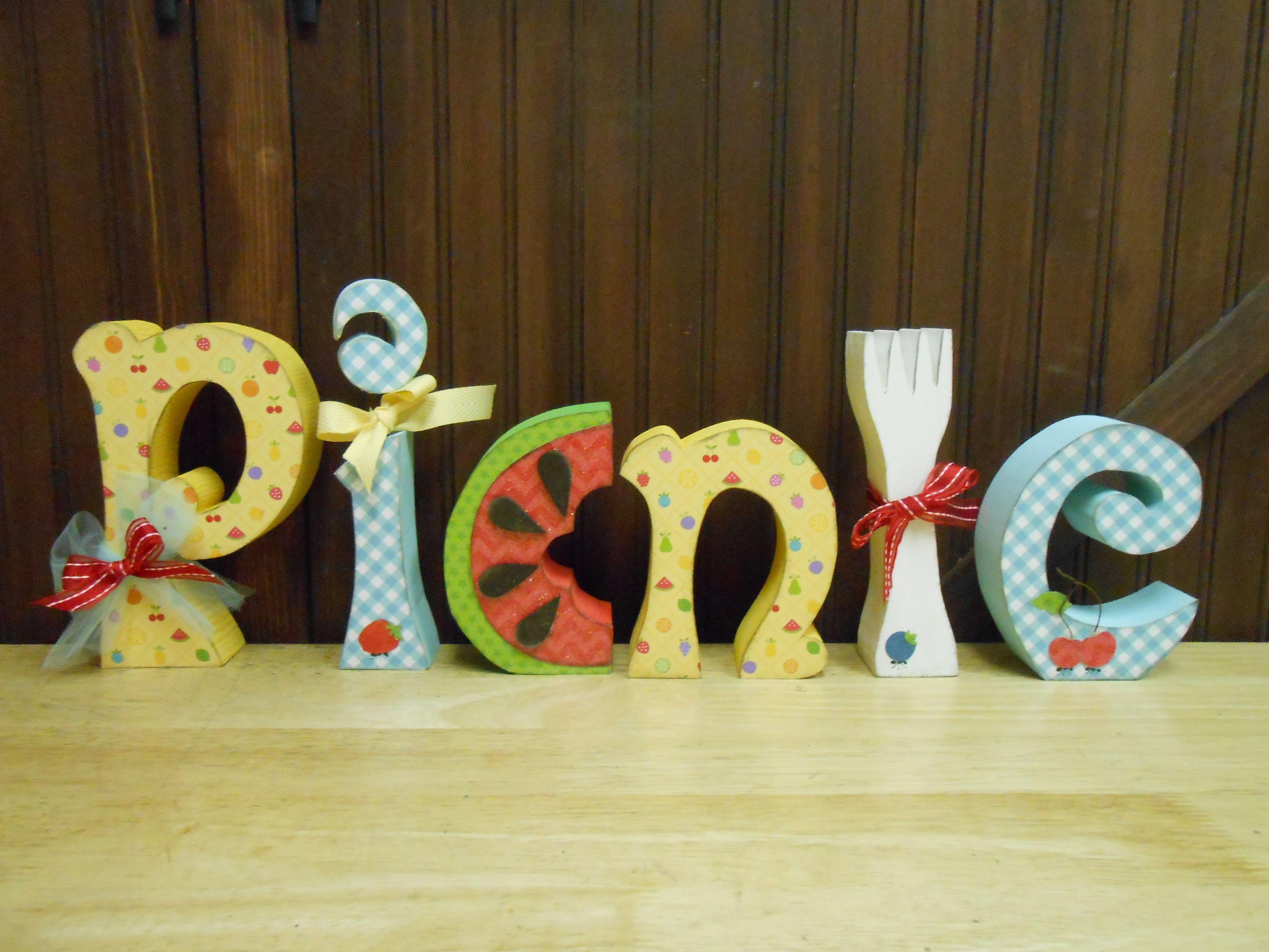 Picnic letter set wood cutouts picnics and products picnic letter set for 1919 from crafty wood cutouts sciox Images
