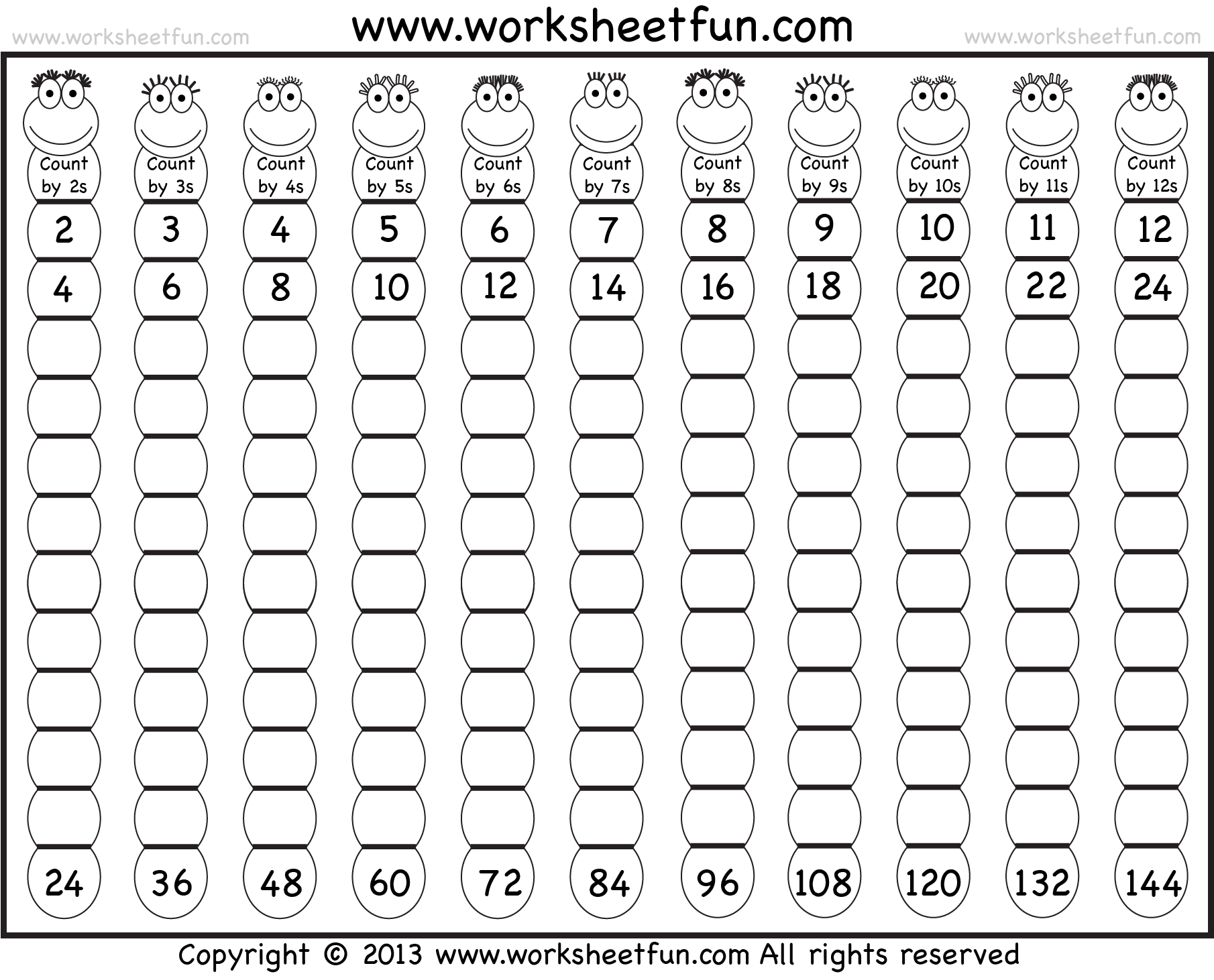 worksheet Skip Counting By 10 Worksheets skip counting by 2 3 4 5 6 7 8 9 10 11 and 6