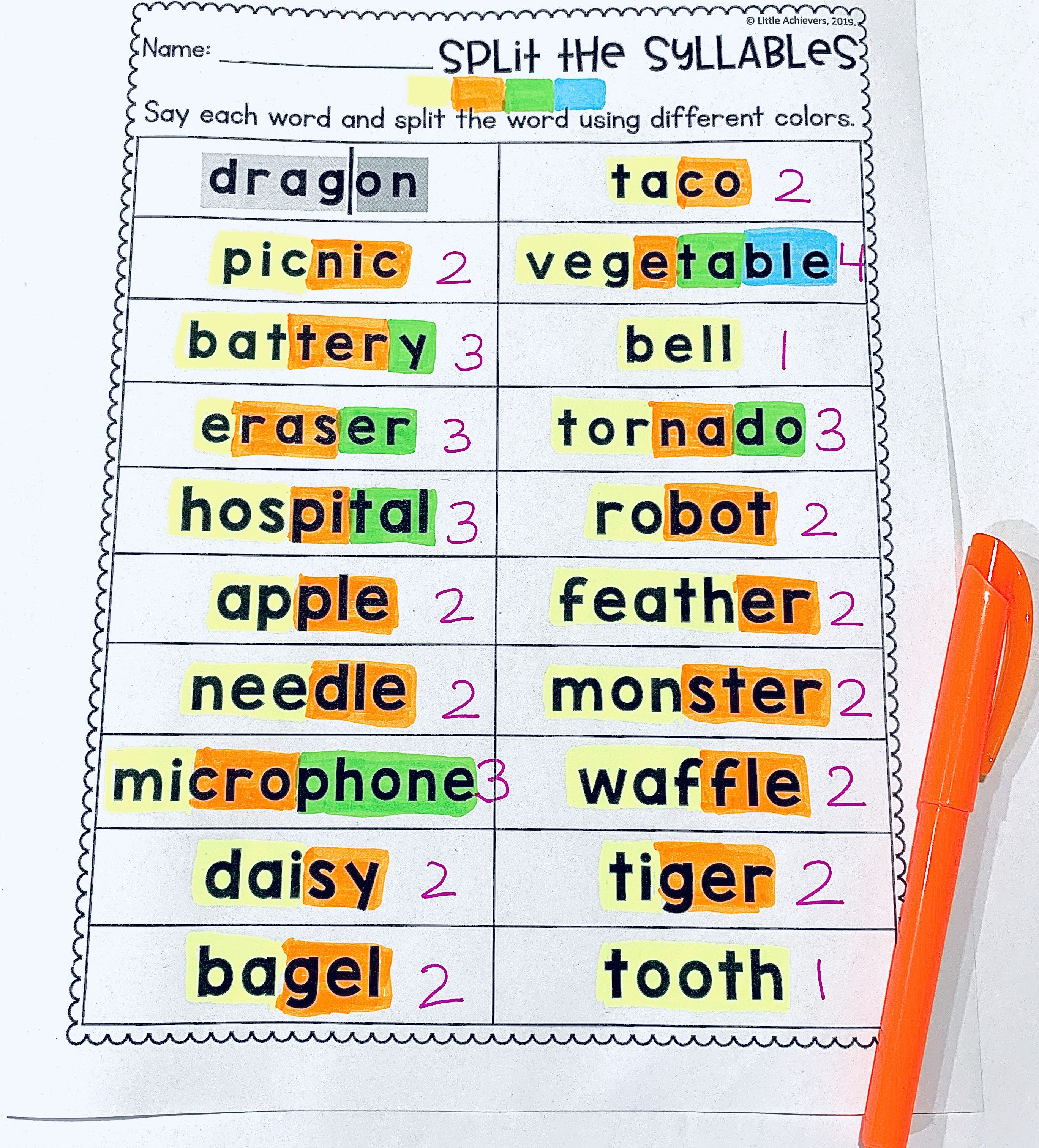 medium resolution of Syllables Worksheets (Counting Syllables Activities)   Syllable worksheet